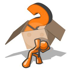 An orange man carrying a box with a large question mark in it.