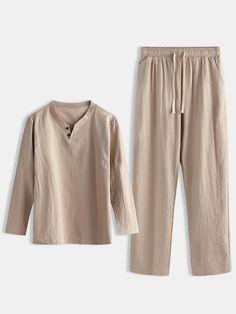 Men Linen Plain Pajamas Set Chinese Style Plus Size Comforta Silk Cami Dress, Chinese Style, Pajama Set, Lounge Wear, Plus Size, Man Shop, Men's Clothing, Clothes