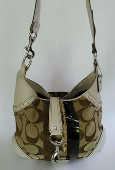 COACH Signature & Bone Leather Brown Patent & Suede And Python Hobo Shoulder Bag #Coach #ShoulderBag