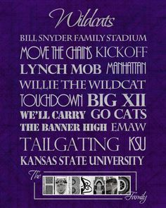 Kansas State University Wildcats print @Heather Creswell smith. Make something like this only better!