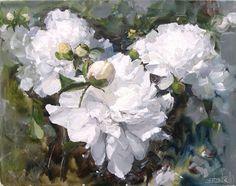 Art Floral, Watercolor Flowers, Watercolor Paintings, White Peonies, Russian Art, Large Flowers, Painting Inspiration, Flower Art, Beautiful Flowers