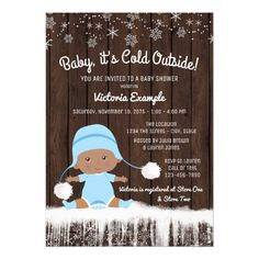 Baby its Cold Outside Ethnic Boy Baby Shower Card