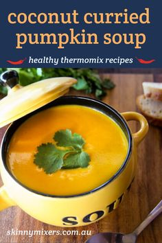 coconut curried pumpkin soup thermomix recipe by skinnymixers Thermomix Soup, Vegan Pumpkin Soup, Gourmet Recipes, Soup Recipes, Healthy Recipes, Coconut Recipes, Vegetarian Recipes, Vegetable Prep, Coleslaw