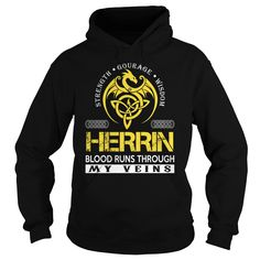 HERRIN Blood Runs Through My Veins (Dragon) - Last Name, Surname T-Shirt