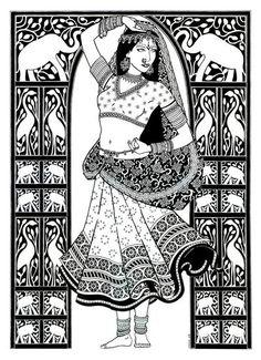 70 ideas line art drawings doodles coloring pages Doodle Art Drawing, Zentangle Drawings, Book Drawing, Madhubani Art, Madhubani Painting, Dancing Drawings, Art Drawings Sketches, Mandala Art Lesson, Kalamkari Painting
