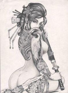 Resultado de imagen para tatuajes de geishas guerreras