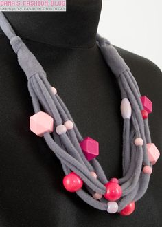 DIY Tutorial: Holzperlen/Stoff - Halskette á la Anthropologie