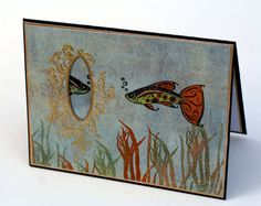 Fish Aquarium note card underwater mirror blank by ThePurpleTable, $3.75