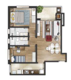 House Floor Design, Sims 4 House Design, Bungalow House Design, Small House Design, 2bhk House Plan, 3d House Plans, Simple House Plans, Small Apartment Plans, Studio Apartment Floor Plans