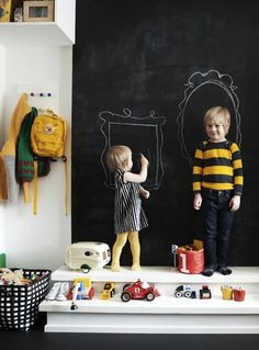 chalkboard wall in kids rooms- love how there is a step here like its a platform or stage