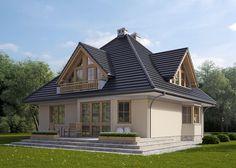 Projekt domu parterowego z poddaszem użytkowym oraz garażem jednostanowiskowym w bryle budynku. Na 170 m2 mieszczą się: przestronna kuchnia z jadalnią, pokój dzienny, sypialnia, WC, kotłownia z pralnią (na parterze) oraz 3 sypialnie, garderoba, gabinet łazienka i oddzielne WC (na poddaszu). Więcej na : http://lk-projekt.pl/lkand124-produkt-74.html