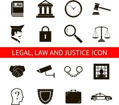 Stock vector of 'Law Legal Justice Icons and Symbols Isolated Silhouette Vector Illustration'