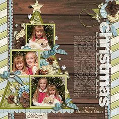 Christmas scrapbook layout: photo tree
