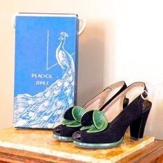 1940s Peep Toe Platform Heels w Original Box by daisyandstella, $300.00