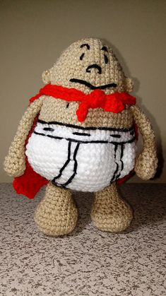 This is based on the book version of Captain Underpants. The stitches used are sc, dc, tc, hdc, and back stitch for the embroidery.