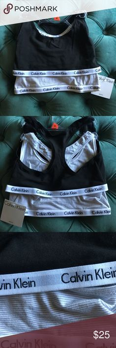 Calvin Klein bralette 2 pack, black and stripe 2 pack! One black and one gray/white stripe. Size medium, small CK logo on elastic bands. ⚫️⚪️ Calvin Klein Intimates & Sleepwear Bras