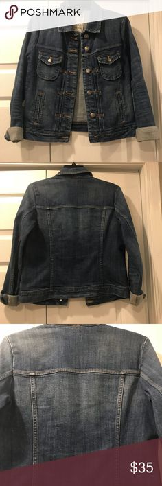 J. Crew denim jacket Awesome denim jacket from J. Crew. Haven't worn a lot so in great condition. Darker wash, showed the back of a jacket for an accurate color swatch. J. Crew Jackets & Coats Jean Jackets