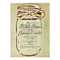 Mason Jar Rustic Country Bridal Shower Invitations #SOLD on #Zazzle