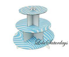 LolaSaturdays 3 Tier Cupcake Stand - Party decoration - Blue Zebra