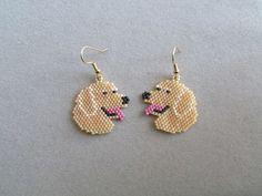 Golden Retriever Earrings in Delica seed by DsBeadedCrochetedEtc