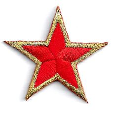"( ONE DOZEN - 12 ) Stars Red/Gold Embroidered 1 5/8""(4cm) Iron On Patches 