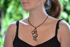 Geometric Necklace bubble necklace in black with by Mathysa