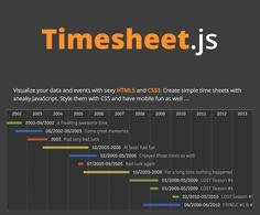 With Timesheet.js you can easily create simple time and data sheets or timelines using HTML5, JavaScript and CSS3. Yep, it's a Vanilla JS library!