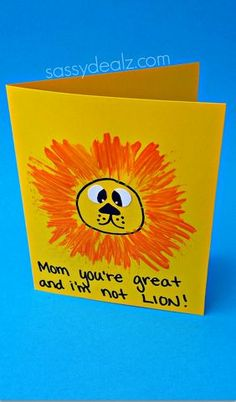 Easy Lion Mother's Day Card for Kids to Make #Mothersday gift idea #fathersday | CraftyMorning.com