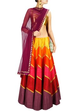 This lehenga is in multicolour panelled raw silk with zig zag gota. Blouse of this lehenga set is in gold colour brocade fabric. Dupatta of this multicolour lehenga sert is in net fabric with gold floral motifs at four sides. Red Lehenga, Lehenga Skirt, Lehenga Style, Anarkali, Indian Attire, Indian Ethnic Wear, India Fashion, Asian Fashion, Outfit