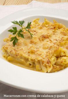Receta de Macarrones con crema de calabaza y queso - Karlos Arguiñano Lasagna, Macaroni And Cheese, Ethnic Recipes, Food, Vegetarian, Pasta Recipes, Butternut Squash, Open Kitchens, Mac Cheese