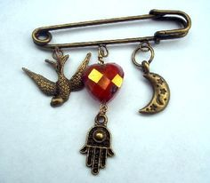 'Red Heart Shawl Pin or Brooch' is going up for auction at 10am Wed, Mar 6 with a starting bid of $12.