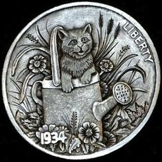 HOWARD THOMAS HOBO NICKEL - TAKE TIME TO SMELL THE ROSES - 1934 BUFFALO NICKEL Hobo Nickel, Coin Art, Old Coins, Cool Artwork, Metal Art, Carving, Buffalo, Roses, Money Matters