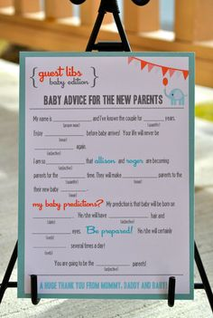 """guest libs"" for baby shower - what a cute idea!"