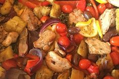 Onedish chicken and kumara bake recipe, Bite – How easy ampndash everything in one baking dish No stress no messy cleanup - Eat Well (formerly Bite) Onion Relish, Cook Up A Storm, One Pot Meals, Tray Bakes, Pot Roast, Baking Recipes, Chicken Recipes, Healthy Eating, Stuffed Peppers