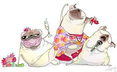 Girl Pugs partying it up