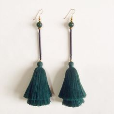 New custom colorway for the Raia earrings... Going to #Japan! #fw16 #layered #tassel #earrings #forest #green #jade #adametrope ✌
