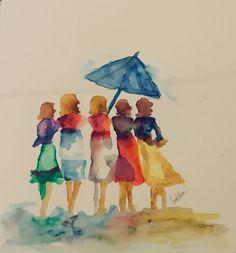 Watercolor Paintings For Beginners, Watercolor Pictures, Watercolor Illustration, Watercolor Art, People Art, Art Pictures, Painting Inspiration, Creative Art, Painting & Drawing