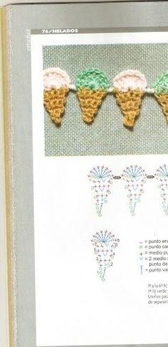 Aplique helado crochet patron