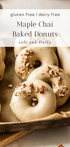 Soft and fluffy gluten free and dairy free chai donuts with sweet maple glaze. #Fall #chai #Fallrecipes #donuts #glutenfreedonuts #bakedonuts #donutrecipes Gluten Free Recipes For Breakfast, Healthy Gluten Free Recipes, Easy Baking Recipes, Gluten Free Treats, Gluten Free Desserts, Healthy Baking, Brunch Recipes, Gluten Free Bars, Gluten Free Cupcakes