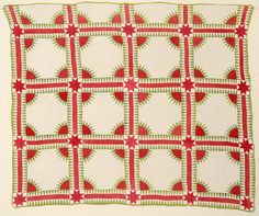 """New York Beauty Quilt: Circa 1860; Kentuckymade in Kentucky. It is a difficult pattern to execute and this is especially well pieced and quilted. It has been professionally laundered and is in very good condition. It has been laundered throughout its lifetime so the colors are a bit softer than they originated but consistently so. An old stamp on the back has the name PS Walker. Measurements are 70"""" x 82"""":"""