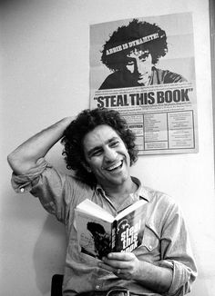 size: Premium Photographic Print: Yippie Leader Abbie Hoffman Holding Copy of His Book by John Shearer : Artists Before Us, Life Magazine, Revolutionaries, Black And White Photography, Role Models, American History, Famous People, Beautiful People, The Past