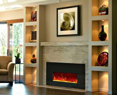 interior: Ravishing Bright Wall Shelving With Incredible Tile Lighting Ideas And Fabulous Electric Fireplace Design, Electric Fireplace: Modern, Elegant and Looks Excellent, Homestoreky: Home Interior Design and Decorating Ideas Built In Electric Fireplace, Fireplace Built Ins, Home Fireplace, Fireplace Inserts, Fireplace Remodel, Fireplace Surrounds, Fireplace Design, Fireplace Ideas, Electric Fireplaces
