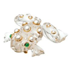 SEAMAN SCHEPPS Rock Crystal Gold Frog | From a unique collection of vintage brooches at https://www.1stdibs.com/jewelry/brooches/brooches/