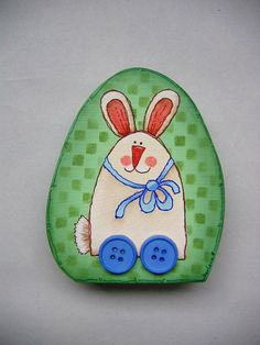 Whimsical Spring Bunny Decoration, Bunny On Wheels, Hand Painted, Egg Shape Wood Shelf Sitter, Spring Decoration, Folk Art Bunny - pinned by pin4etsy.com