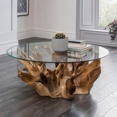 Coffee Table Design, Tree Coffee Table, Driftwood Coffee Table, Driftwood Furniture, Wood Table Design, Unique Coffee Table, Decorating Coffee Tables, Diy Furniture, Tree Trunk Coffee Table