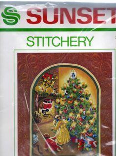 Wonderment of Santa Stitchery Crewel Needlepoint Christmas Tree Charlene Gerrish Santa Christmas, Needlepoint, Cross Stitch, Kit, Embroidery, Sunset, Crafts, Ebay, Friends