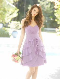 Chic Sweetheart Empire Waist Ruffles Knee-Length Chiffon Bridesmaid dress WPBD-9472