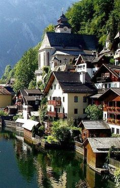 Hallstatt , Upper Austria, is a village in the Salzkammergut, a region in Austria. Places Around The World, Oh The Places You'll Go, Travel Around The World, Places To Travel, Places To Visit, Around The Worlds, Wonderful Places, Beautiful Places, Beautiful Scenery