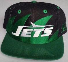 a90947fdcf3 New York Jets Snapback Black Logo Athletic Sharktooth Hat Vintage NFl Pro  Line Nfl Jets