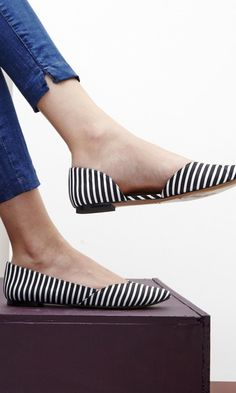 Style this striped pair with a flared mini dress for a sweet and charming look.